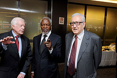 Jimmy Carter, Kofi Annan and Lakhdar Brahimi, all member of The Elders, an independent group of global leaders who work together for peace and human rights. They were brought together in 2007 by Nelson Mandela
