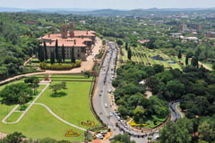 An aerial view of the Union Buildings where for President Nelson Mandela's body is lying in state with people queuing to view