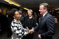 Minister of International Relations and Cooperation Maite Nkoana-Mashabane with British Prime Minister David Cameron