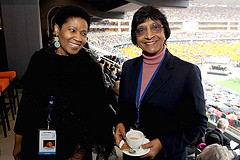 Former Deputy President and current Executive Director of UN Women Phumzile Mlambo-Ncguka with UN High Commissioner for Human Rights Navi Pilllay
