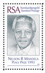 Stamp commemorating Nelson Mandela being awarded the Nobel Peace price